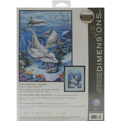 """""""The Dolphins' Domain Counted Cross Stitch Kit-10""""""""X14"""""""" 14 Count"""""""