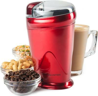 Andrew James Red Electric Coffee Grinder Whole Bean Nut Spice Mill Latte 150W