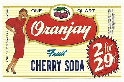 1950's Oranjay Cherry Soda Label - Troy, NY