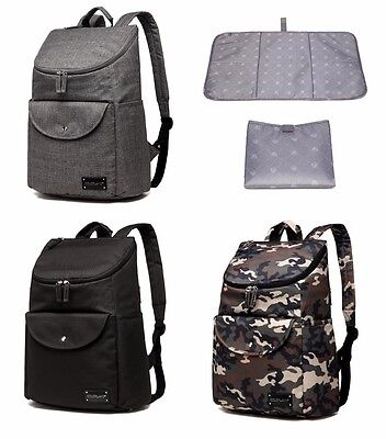 Unisex Large Multi-function Backpack Baby Diaper Changing Nappy Bag+Changing Pad