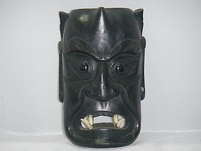 Vintage Hand Carved Black Ebony Chinese Mask Head Scary W Horn & Teeth Taiwan