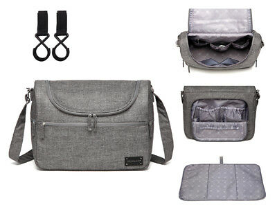 Unisex Large Multi-function Messenger Baby Nappy Changing Bag+Changing Pad-CB209