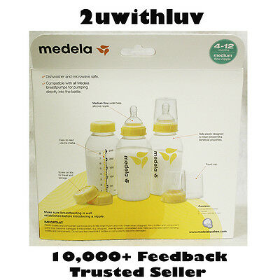 Medela Breastmilk Bottle Set 8 Oz / 250 Ml Medium Flow Silicone Nipple Bpa Free