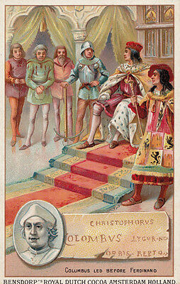 Christopher Columbus Printed Signed Bendorps Cocoa Postcard Antique Trade Card