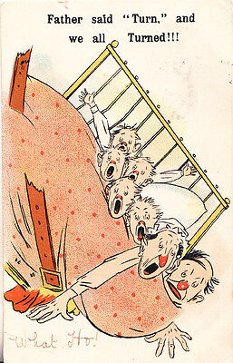 There Were Three In A Bed Children Falling Out Of Comic Humour Songcard Postcard