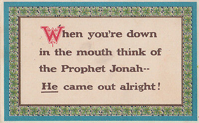 Prophet Jonah Down In The Mouth Poetry Poem Songcard Postcard