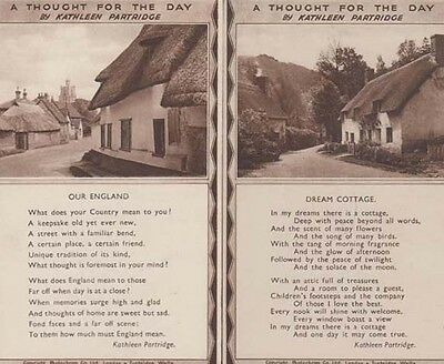 A Thought For The Day Kathleen Partridge 2x Old Mint Songcard Postcard s