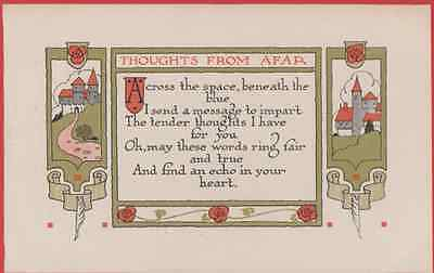 Thoughts From Afar Abroad Far Away Castle Love Romance Antique Poetry Postcard
