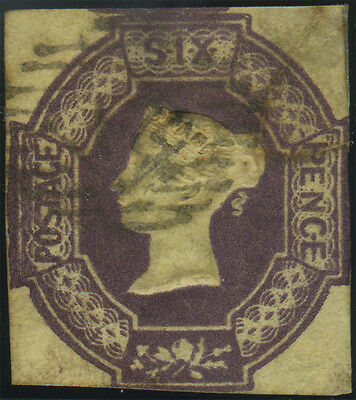 SG 59 Embossed 6d dull lilac, good used cut square example, excellent colour, Ca
