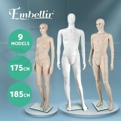 Female Male Mannequin Torso Full Body Clothes Display Window Showcase Detachable