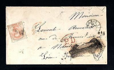 14426-SPAIN-ESPAÑA-OLD COVER BILBAO to NANTES (france)1872.AMADEO I.40 Cts.