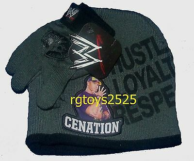 WWE Wrestling Beanie Hat Gloves Combo set Never Give Up Cenation New size Child