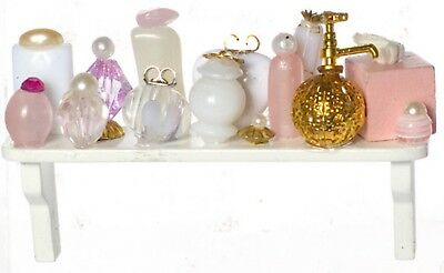 Dolls House Shelf Full of Pink Cosmetics & Perfumes Miniature Bathroom Accessory