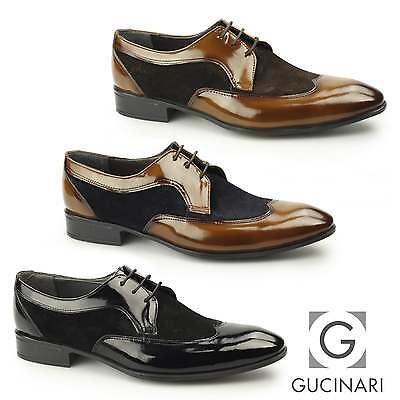 f5ee3116f57ba Gucinari ARTUS Mens Suede Patent Leather Formal Funky Smart Wingtip Derby  Shoes