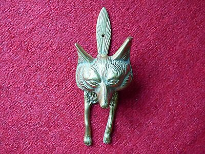 "Large Collectable Solid Brass Fox Head Hunt Hunting Door Knocker 10"" Free Uk Pp!"