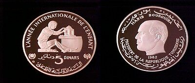 1981 Tunisia Large silver Proof 5 Dinars Year of the Child