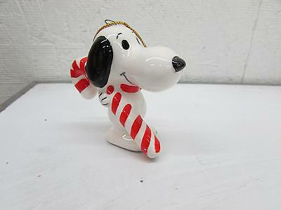 Vintage Ceramic Snoopy W Candy Cane Christmas Ornament Peanuts