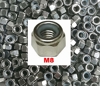M8 Stainless Steel DEEP Nyloc Nuts - M8 Full Height (Type P Nyloc) x25