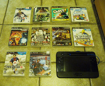 PS3 10 GAMES Mortal Kombat Sleeping Dogs Dirt 3 Uncharted 1 2 3 + UDraw tablet