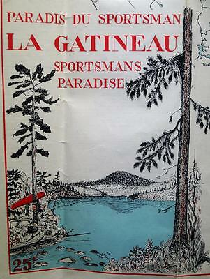 Gatineau Region Quebec Sportsman's Paradise Highway Road Map 1954 Vintage
