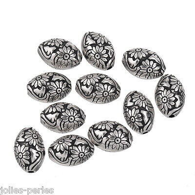 JP 10PCs Charms Silver Plastic Beads Oval Flowers Jewelry Findings
