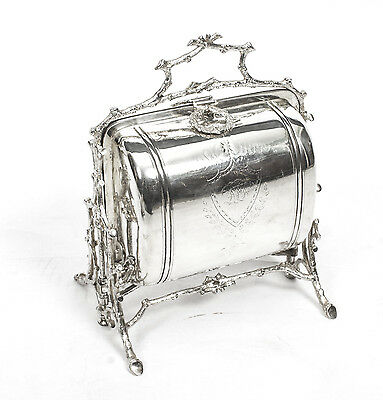 Antique Victorian Silver Plated Folding Biscuit Box  1890