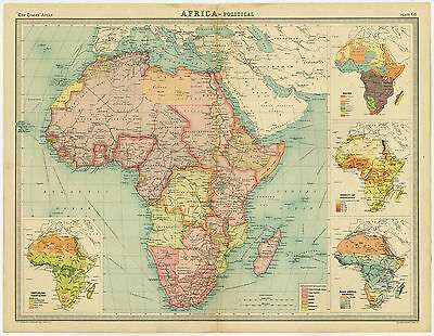 Antique Map-AFRICA-CONTINENT-THE TIMES ATLAS-PLATE 68-Bartholomew-ca. 1900