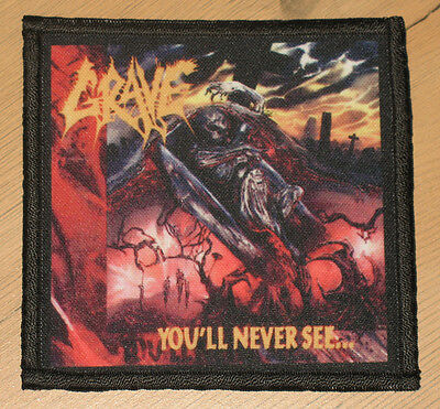 """GRAVE """"YOU'LL NEVER SEE"""" silk screen PATCH"""