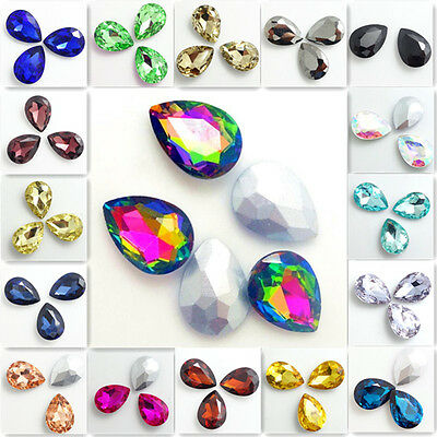 Hot 10pcs Faceted Crystal Glass rhinestones Silver Bottom Teardrop beads 13x18mm