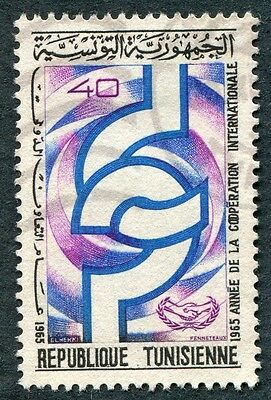 TUNISIA 1965 40m blue, purple and black SG617 used NG Co-operation Year #W2