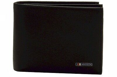Tommy Hilfiger Men's Multi Card Passcase Genuine Black Leather Bi-Fold Wallet