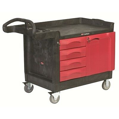 Rubbermaid FG453388BLA TradeMaster® Cart with 4-Drawer and Cabinet, Small