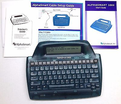 Alphasmart 3000 Portable Laptop Keyboard Word Processor w/cable and manuals