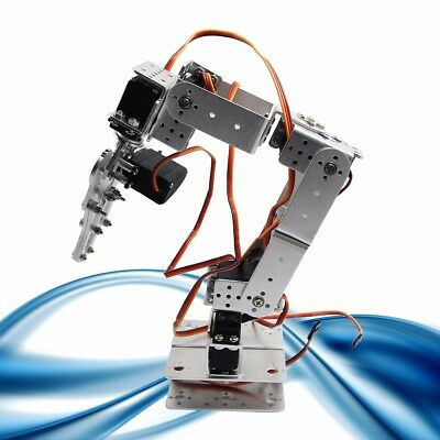 ROT2U 6DOF Aluminium Robot Arm Clamp Claw Mount Kit w/ Servos for Arduino-Silver