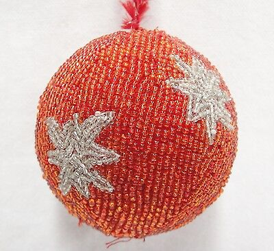 Vintage Beaded Christmas Ball Ornament Red with Silver Stars Handmade