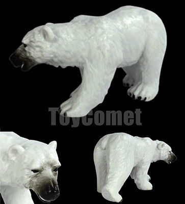 Realistic Polar Bear Wild Animal Figure Solid Plastic Toy Model