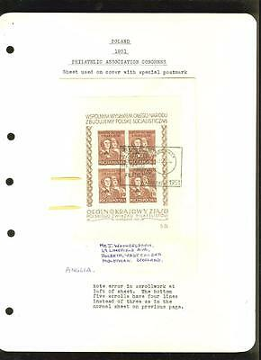 Poland: 1951 souv. sheet double frame, on cover to England