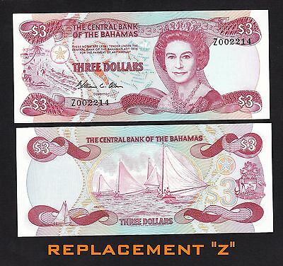 Bahamas 3 Dollars (1974) 1984 P44r REPLACEMENT Z00221X QEII - UNC