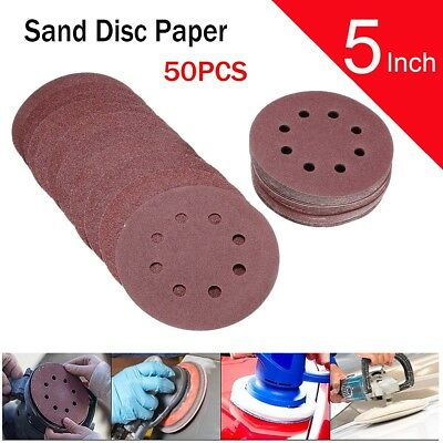 50x 5'' 8 Hole 80/120/180/240/320 Grit Sanding Disc Random Orbit Hook and Loop