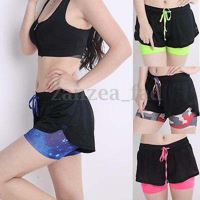 Women Yoga Elastic Waist Lined Shorts Dry Fit Sports Gym Beach Fitness Hot Pant