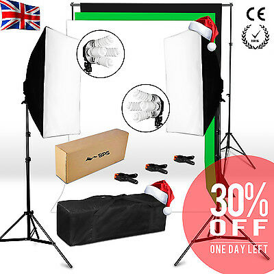 1520W Photo Studio Continuous Lighting Softbox Soft box Kit 4 Heads 3 backdrops