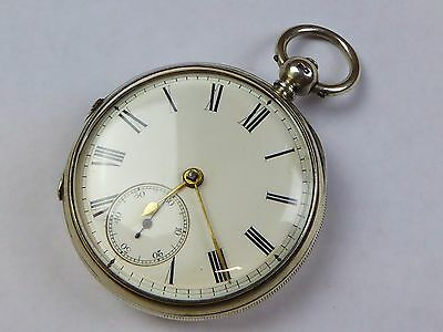 Antique ticking fusee movement  solid silver case pocket watch
