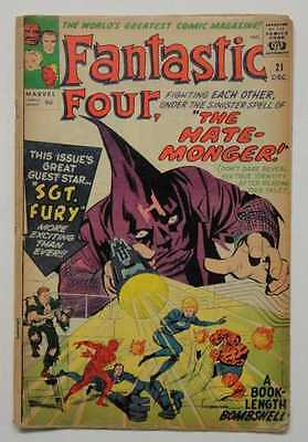 MARVEL Fantastic Four #21 The Hate-Monger (1963) (UK Price Variant) 1963 1st Edi