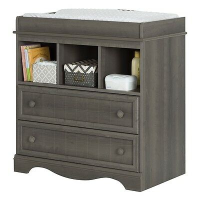 South Shore Savannah Changing Table with Drawers - Gray Maple