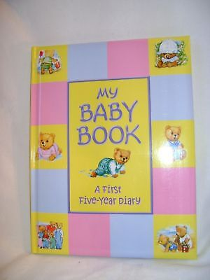 New My Baby Book First Five Year Diary Record Blue & Pink  Book Bears Padded Squ