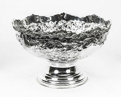 Gorgeous Large Silver Plated Punch Bowl Floral Decoration