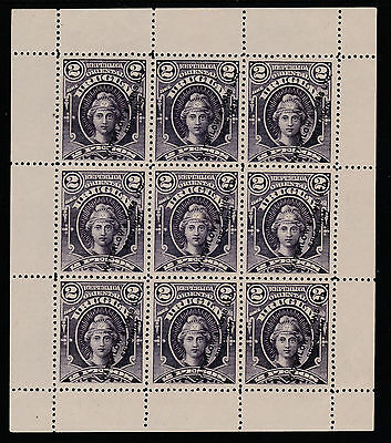 Uruguay (252) 1894 Printer's SAMPLE sheet of 9 in purple (instead of carmine)