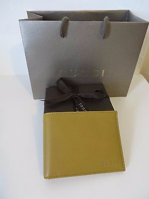 GUCCI  Men's NEW Lt Olive leather  Wallet.100% Authentic,Gucci Gift box Bag