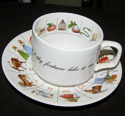 Royal Kendal Fortune Telling Zodiac Cup and Saucer Staffordshire England Vintage