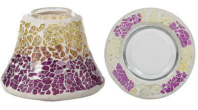 Yankee Candle Purple and Gold Crackle Small Shade and Tray